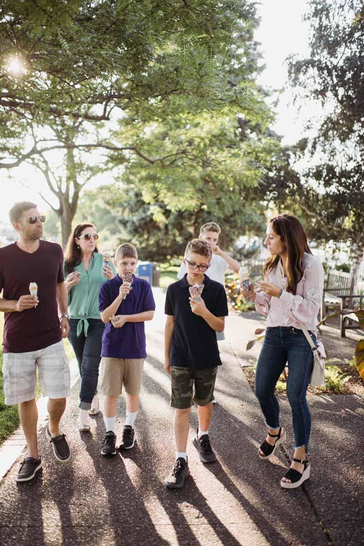 Bialke and Sellner families walking