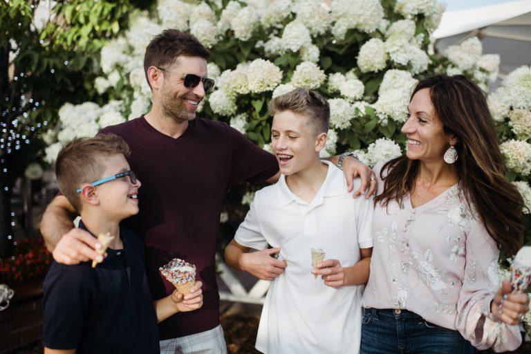 Bialke family eating ice cream